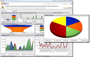 A reporting dashboard in Salesnet CRM